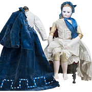 "17 1/2"" (44 cm) Extremely Rare Early French Fashion doll with kid-over wooden articulated body, rare mark J.L., original costume, Porcelain Bare Feet, from  Terrene shop, c.1860"