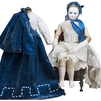 """17 1/2"""" (44 cm) Extremely Rare Early French Fashion doll with kid-over wooden articulated body, rare mark J.L., original costume, Porcelain Bare Feet, from  Terrene shop, c.1860"""