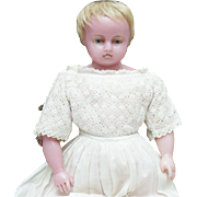 "15"" (38 cm) Antique All original English Poured Wax Baby by Pierotti, marked, original clothes, c.1860"