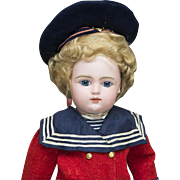 "17 1/2"" (44 cm) Antique French bebe Doll by Gaultier Freres in original sailor costume, c.1880"