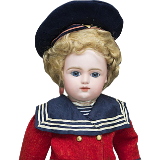 """17 1/2"""" (44 cm) Antique French bebe Doll by Gaultier Freres in original sailor costume, c.1880"""