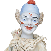 "12"" (28 cm.) Antique german  unusual  clown  doll with  bellows cymbals , in original costume"