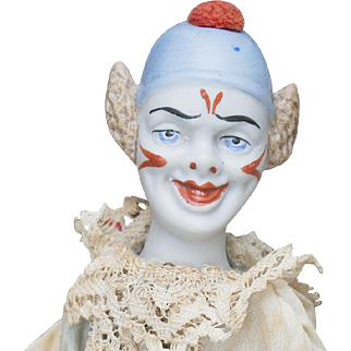 """12"""" (28 cm.) Antique german  unusual  clown  doll with  bellows cymbals , in original costume"""