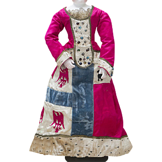 """Superb and Rare All original Antique French Party Silk Satin Dress for fashion doll Huret Rohmer Jumeau Bru Gaultier and other about 17-18"""" tall, c.1890"""