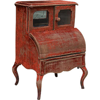 Antique Original French Miniature Dresser Dressing Table for Huret Rohmer Jumeau Bru Gaultier and other fashion doll, c.1880