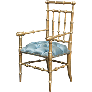 "14 1/2"" (37 cm.)  Rare French Gilt Wooden Salon Chair with Tufted Silk Seat for Jumeau Bru Steiner Eden Bebe and other french bebe doll"