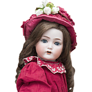 "21"" (54 cm.)  Antique German Bisque  Mein Liebling doll, Model 117n by Kammer and Reinhardt in original costume and rare ""Naughty eye"", c.1912"