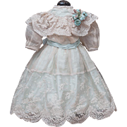 "Antique Aqua Silk and Cream Gauze Dress for Jumeau Bru Steiner Eden bebe or other french or german doll about 21-22"" (54-57 cm)"