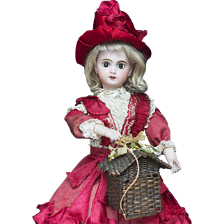 "20"" (51 cm) Wonderful Antique French  Musical Automaton Bisque Jumeau Bebe Doll with Basket and Surprise by Leopold Lambert"