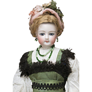 13 inch  (33 cm) Very Beautiful Antique French Fashion Doll FG by Francois Gaultier in original costume,  Size 1 c.1875