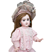19in (49 cm) Rare Antique French Jumeau bebe Doll with rare Depose sleep eyes, original dress