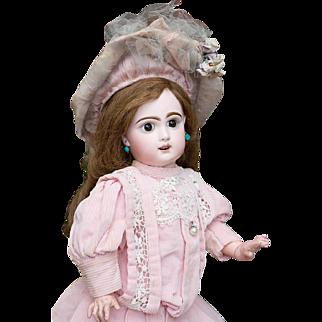 19in (49 cm) Rare Antique French Jumeau bebe Doll with rare Depose sleep eyes, original dress