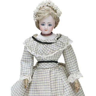 "14/ 1/2"" (37 cm) Very Beautiful and Rare German Bisque Fashion Doll by Simon & Halbig , in original dress"