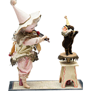 """Antique German Mechanical Pull-toy """"The Jester doll and Performing Teddy Bear"""" by Zinner & Sohne, c.1890"""