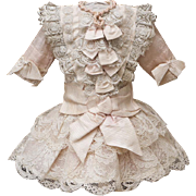 "Antique French Silk & Lace Dress for Jumeau Bru Steiner Gaultier Eden bebe doll about 16-17"" (41-44 cm)"