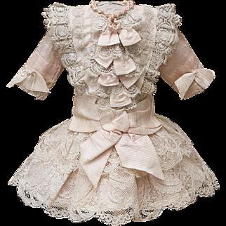 "Antique French Silk & Lace Dress for Jumeau Bru Steiner Gaultier Eden bebe doll about 16-17"" (41-44 cm)"