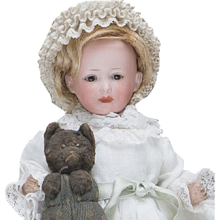 "8"" (20 cm) Antique German Bisque Character Bebe Doll 590, with Laughing Expression by Marseille Open/Closed Mouth, Sleep Eyes"