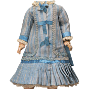 "Antique French Original Blue Checkered Dress for Jumeau Bru Steiner Gaultier Eden bebe doll about 18-19"" tall (45-48 cm)"
