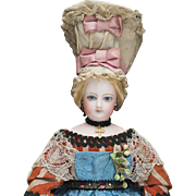 "12"" (31 cm) Antique French All-Original Bisque Poupee Doll by Jumeau in Normandy costume, c.1875"