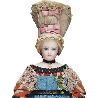 """12"""" (31 cm) Antique French All-Original Bisque Poupee Doll by Jumeau in Normandy costume, c.1875"""