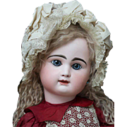 28 1/2in (73 cm) Antique Large French Bisque Block Letter Bebe Doll by Rabery & Delphieu in original dress