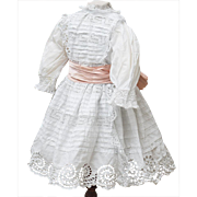 """Antique Original white Dress and Slip for french or german doll 25-26"""" tall"""