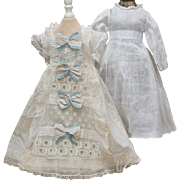 "Antique French Original Muslin Dress and Chemise for  Jumeau bru Steiner Gaultier Eden Bebe or German doll about 17-18"" tall"