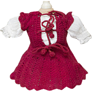 """Antique Original Red Knitted Dress for French Jumeau Bru Steiner Eden Bebe Gaultier or german doll about 11-12"""" tall"""
