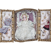 "8"" (20 cm) Antique German Bisque Glass Eyes Doll in Presentation Basket with Costumes and umbrella"