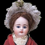 """13"""" (33cm) Antique French Paper Mache Doll by Fleischmann & Blodel in Original  Costume"""