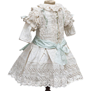 "Wonderful Antique Original French White Cotton Dress of Broderie Anglaise for Jumeau bru Steiner Eden Bebe E.J. or early german doll about 25-26"" tall (63-66 cm)"