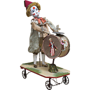 "18 1/2"" h.  Wonderful Large All-Original Antique  French Pull-Toy with Character doll and Squeaker ""The Clown with drum and cymbal"""