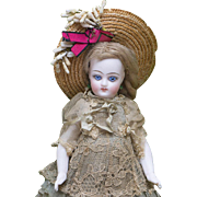 "6 1/2"" (17 cm) Antique All Original French All-Bisque Mignonette with Rare Bare Feet in Original Presentation Box, c.1880"