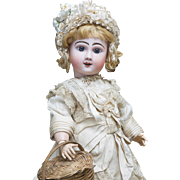 "24"" (62 cm) Very Beautiful Antique French Bisque Bebe Phenix Doll 96  by Jules Steiner Successors with smiling expression, wonderful dress, c.1895"