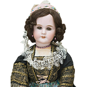 "25"" (63cm) Antique French Bisque Bebe  DEP Doll  in Original Brittany Costume, excellent condition, c.1895"