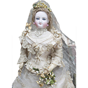 "17"" (44 cm) Wonderful Antique French Fashion Bisque Smiling Poupee  Doll by Leon Casimir Bru Inspired by Empress Eugenie in original wedding gown!"