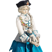 "34"" (86 cm!) Extremely Rare Early All Original Italian Felt Marquise Doll with her lamb, Model 700, by Lenci with Fine Superb Costume"