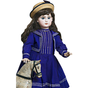 "36"" (92 cm.) Antique All Original  Gorgeous  Huge French Bisque Bebe Jumeau Doll with closed mouth,Size 15,in Beautiful Antique Sailor Costume, c.1888"