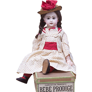 "21"" (53 cm) Antique French All Original Brown-Eyed Bebe by Emile Jumeau Prodige in factory box,  rare mark ""D"", size 9"