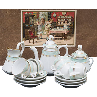 Antique French Porcelain Tea Service for doll Jumeau bru Steiner eden bebe or early german doll, in Original Box from Au Bon Marche, Paris