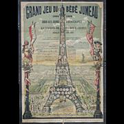 Very Rare Antique Original Poster Grand Jeu de Bebe Jumeau Doll from 1889 Paris Exposition
