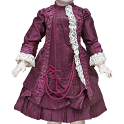 "Wonderful of antique Burgundy silk couturier costume for Jumeau Bru Gaultier Steiner E.J. Eden Bebe doll about 25-26"" tall"