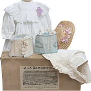 "Antique  French Original Doll Clothes in Paris Samaritaine Presentation  Box - The Dress, Chemise, two corsets, and hat (5 pieces), c.1890, for Jumeau, Bru, Steiner, Gaultier, Eden bebe about 25-26"" tall"