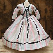 "Antique Original Gown Dress for French Fashion Doll Huret, Rohmer, Gaultier, Jumeau, Bru about  17-18"" (43-45 cm)"