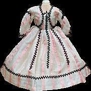 "Antique Original Gown Dress for French Fashion Doll Huret, Rohmer, Gaultier, Jumeau, Bru about  17-18"" (43-45 cm)"