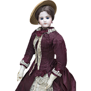 """22"""" (56 cm) Antique French  All Original Fashion Bisque Poupee Doll, Size 9 by Jumeau, in original costume, excellent condition"""
