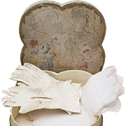 Antique French original Cream Kid fitted gloves and batiste handkerchief in presentation box for fashion doll, c.1870