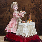 "21"" (53 cm) Antique French All Original Musical Automaton ""Coquette"" - The Doll at her Dressing Table, by Leopold Lambert, c.1895."