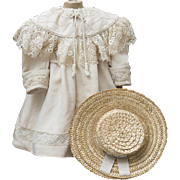 "Antique French Original Silk Coat and Straw Hat  for Jumeau Bru Steiner Gaultier  Eden Bebe or German doll about 26"" tall, c.1890"