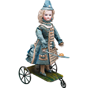 "13"" (33 cm) Charming All Original French Antique Mechanical Doll Playing Badminton by Vichy Fils, c.1875"